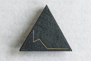 Brosche, Silber oxidiert, Schiefer, Gold, 1983